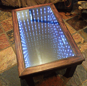 Infinity mirror built into coffee table