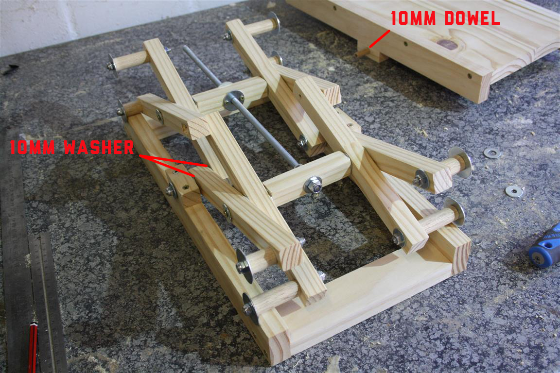 "The last step of the DIY scissor lift assembly process will start by turning the adjustment rod (10mm rod ""O"") to a point where it would allow the scissor ..."