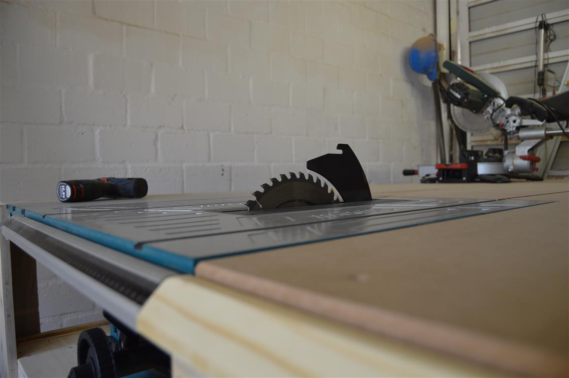 table saw installed to workbench all in one woodworking station